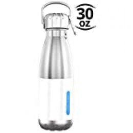 TRIPLE TREE Botella de Agua Acero Inoxidable con Aislamiento al vacio. Mantiene Tus Bebidas frías por 24 Horas y Calientes por 124 Horas. Water Bottle (Blanco)