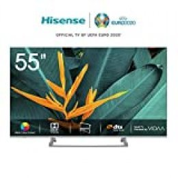 Hisense H55BE7400 - Smart TV ULED 55' 4K Ultra HD, 3 HDMI, 2 USB, salida óptica, Wifi, Bluetooth, Dolby Vision HDR, Wide Color Gamut, Audio DTS, Procesador Quad Core, Smart TV VIDAA U 3.0 con IA