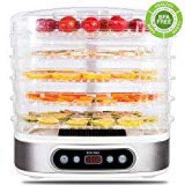 Deshidratador de Alimentos 500W zociko Deshidratadora de Frutas con 5 Bandejas Altura Regulable, Pantalla LCD, emporizador y temperatura regulable Deshidratador de Frutas, Vegetales, Carne, Sin BPA