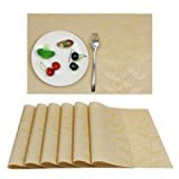 Aonewoe Manteles Individuales de PVC Resistente al Calor para Mesa de Comedor Alfombras de Mesa Lavables Resistentes a Las Manchas de Vinilo Tejido de Hoja (6PCS, Beige)