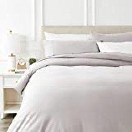 AmazonBasics - Juego de cama de franela con funda nórdica - 230 x 220 cm/50 x 80 cm x 2, Blanco