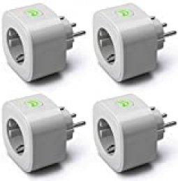 Enchufe Inteligente, Wi-Fi Smart Plug, 16A 3680W, Mide el Consumo, con Control Remoto. Compatible con Alexa, Google Assistant y SmartThings. Modelo MSS310, Paquete de 4. Gris.