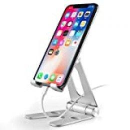 SOONHUA Soporte de teléfono, plegable giratorio de aleación de aluminio, soporte para teléfono móvil, tableta, soporte de soporte para teléfono móvil, tableta y teléfono móvil de 3,5 ~ 10 pulgadas