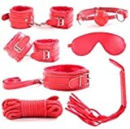 RianGor Juego de eslingas de cuero de 7 piezas Juego de esposas de collar de eslabones de latigazo (rojo)