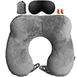 Goping Almohada de viaje inflable para el cuello con bolsa de almacenamiento antifaz y tapones para los oídos