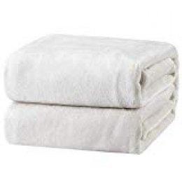 Bedsure Mantas Pequeña para Sofás de Franela 130x150cm - Manta para Perro Reversible de 100% Microfibra Extra Suave - Manta Blanca Marfil Transpirable