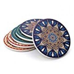 Sweese - Juego de 6 posavasos de cerámica con base de corcho absorbente para vidrio, tazas, tazas, tazas