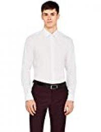 Marca Amazon - Hem & Seam Slim Fit Printed, Camisa de Oficina para Hombre, Weiß (Ditsy Print), 39 cm, Label: M