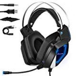 Mbuynow Auriculares para Gaming con Micrófono PS4 PC Xbox One, Cascos Gaming, Cacos de Juego Reducción de Ruido Almohadilla Suave 3.5mm Compatible con Ordenador Portátil Tableta/Teléfono Móvil