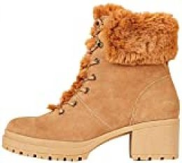 find. Mid Height Faux Fur Lace Up Botines, Marrón Tan, 37 EU