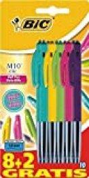 BiC M10 Clic - Bolígrafo retráctil (10 unidades), varios colores