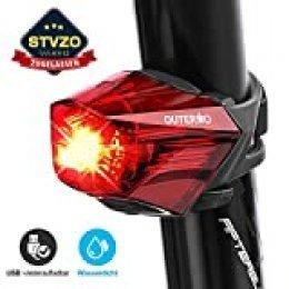 OUTERDO Feu Arrière Vélo, Eclairage Arrière Vélo Rechargeable USB LED Lumineuse IPX4 Etanche Facile à Installer avec Une Vue de Grand Angle de 220 Degrés