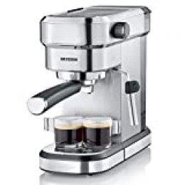 Severin KA 5994 Espresa - Cafetera espresso, 1350 W, 1.1 L, acero inoxidable cepillado, función descalcificación, color plata