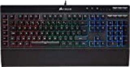 Corsair K55 RGB - Teclado Gaming (retroiluminación multicolor RGB, QWERTY), negro [España]
