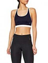 Marca Amazon - AURIQUE Sujetador Deportivo Bajo Impacto Tirantes Yoga Mujer, Azul (Navy/White), M, Label:M