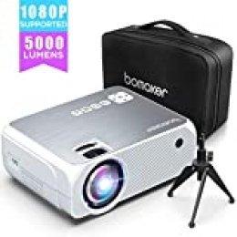 Proyector BOMAKER 5000 Lúmenes Soporta 1080p Full HD, Mini Proyector Portátil Cine en Casa 720p Nativo, con Trípode & Bolsa de Transporte, HDMI/VGA/AV/USB/SD GC555 [2020 Actualizado]