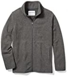 Amazon Essentials Fleece-Outerwear-Jackets, Jaspeado Gris carbón, S