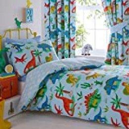 Juego de Funda de edredón y Funda de Almohada para Cama Infantil con diseño de Dinosaurios, poliéster, algodón, Color Azul, Individual