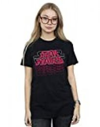 Star Wars Mujer Blended Logos Camiseta del Novio Fit Negro XXXX-Large