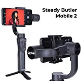 Rollei Steady Butler Mobile 2 Smartphone Gimbal I Timelapse, Object Tracking, Portrait and Zoom Function I Mobile Phone Gimbal for iPhone and Android