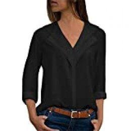 Camisas Mujer Blusa Camisetas Manga Larga Sexy Tops Color Sólido Cuello en V Low Cut Sexy Camisetas y Tops Pullover