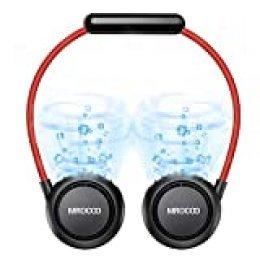 MIROCOO Ventilador USB, Ventilador Portatil, Mini Ventilador Cabello Anti-involucrado, Usable Recargable Ventilador de Cuello, Ventilador Pequeño de Refrigeración para Viajar, Deportes (Negro)