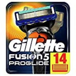 Gillette Fusion5 ProGlide - Cuchillas de Afeitar, Paquete Apto para el Buzón de Correos, Tecnología FlexBall que se Adapta a los Contornos, 14 Recambios