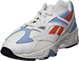 Reebok Aztrek 96, Zapatillas de Deporte Unisex-Adulto, White/Vivid Orange/Fluid Blue, 42.5 EU