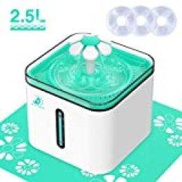Bonve Pet 2.5L Fuente para Gatos y Perros, Bebedero Gatos Perros Mascotas Bebedero Automático Fuente de Agua Silencioso con 3 Filtros de Repuesto, Tapete de Silicona, 3 Modos