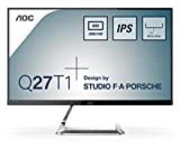"AOC Monitor Q27T1- Pantalla para PC de 27"" QHD 2K (2560 x 1440 Pixeles, IPS, FlickerFree, LowBlue Mode, HDMI, Displayport)"