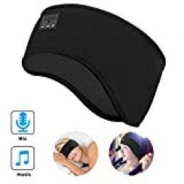E-More Auriculares para Dormir Bluetooth Diadema, Wireless Bluetooth Headset Unisex Sports Headband Headphones, Música Sweatband para Entrenamiento, Footing, Yoga, Insomnio, Viajes Aéreos, Negro