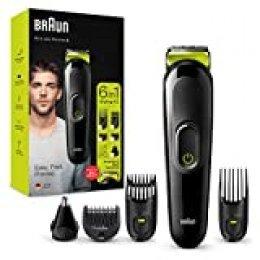 Braun Recortadora MGK3221 6 en 1, Máquina recortadora de barba, cortapelos, recortadora facial, para nariz y orejas para hombre, color verde eléctrico