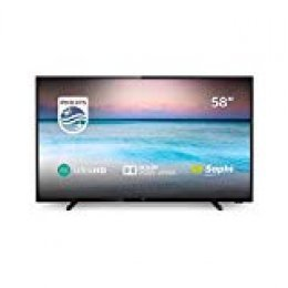 Philips 58PUS6504/12 - Smart TV LED 4K UHD, 58 pulgadas, Resolución de pantalla 3840 x 2160,  Negro brillante