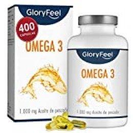 GloryFeel® Omega 3 Aceite de Pescado 1000 mg - 400 Cápsulas de gran potencia - Efecto antiinflamatorio y antioxidante - EPA [180 mg] y DHA [120 mg] - Destilado Molecularmente para Mayor Pureza