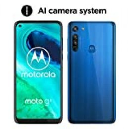 "Motorola Moto G8 (Pantalla de 6,4"" HD+ o-notch, 4G, Qualcomm Snapdragon SD665, Sistema de cámara triple, 64 GB, 4 GB RAM, Android 10), Azul [Exclusivo Amazon]"