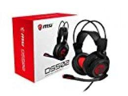 MSI DS502 - Auriculares para Gaming (con Micrófono, Sonido 7.1, Banda de Sujeción, USB) Color Negro y Rojo, Única
