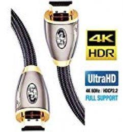 Ibra Pro Gold Rojo - Cable HDMI de alta velocidad, 2 m, version 2.0, Full HD 1080p, 4K Ultra HD 2160p, 3D, ARC, CEC, 18Gbps, compatible con Ethernet