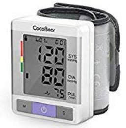 【Salud y Portátil】Tensiómetro de muñeca CocoBear Tensiometro de muñeca digital,Memoria(2 * 90)certificación FDA/CE