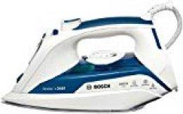 Bosch TDA5028010 Sensixx'x DA50 - Plancha de vapor, 2800 W, 180g golpe de vapor, 40g/min vapor constante, base Ceranium Glisèe, color azul y blanco