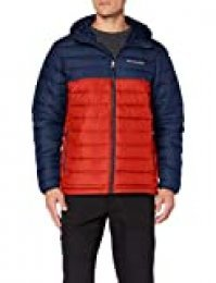 Columbia Powder Lite Hooded Chaqueta De Plumón Con Capucha, Hombre, Multicolor (Mountain Red/Collegiate Navy), Talla XXL