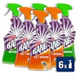 Cillit Bang Spray Limpiador Cal y Brillo (Baño) + Spray Quitagrasas Brillo (Cocina) - Megapack 6 Unidades