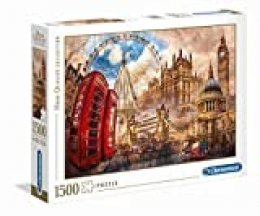 Clementoni Vintage London Contour Puzzle 1500 Pieza(s) - Rompecabezas (Contour Puzzle, Ciudad, Niños y Adultos, Vintage London, Niño/niña, 14 año(s))
