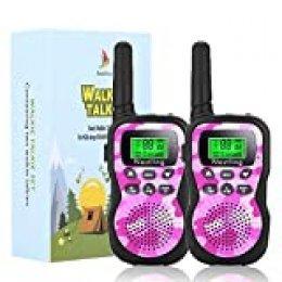 Nestling Walkie Talkie para niños, Camuflaje al Aire Libre, 8 Canales, Radio de 2 vías, Juguetes, Linterna LCD retroiluminada, Rango de 3 Millas para Actividades Infantiles (2pcs Rosa)