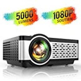Proyector, TOPTRO 5000 Lúmenes Mini Portátil Proyector de Cine en Casa 720P Nativo Soporta Full HD 1080P con Altavoce HiFi, Cubierta de Metal, LED 60000 Horas, para TV Stick/PS4/PC/HDMI/VGA/AV/TF/USB