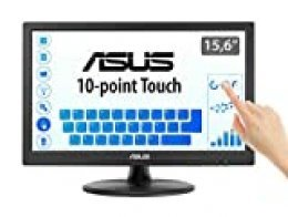 "ASUS VT168N- Monitor táctil 15,6"" (39.6 cm, 1366x768), multitáctil 10 puntos, antiparpadeo, luz azul reducida"