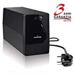 Tecnoware Sistema de alimentación ininterrumpida SAI Era Plus 900 con 2 Salidas Schuko, Potencia de 900 VA, Autonomía de Hasta 50 Minutos con Módem Router WiFi o 13 Minutos con PC , Estabilización AVR