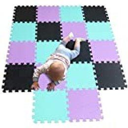 MQIAOHAM Alfombra de enclavamiento 30 x 30 1cm Azulejos de espuma Esteras de protección Esteras juegos espuma suave para niños en el gimnasio Área juegos Ejercicio Yoga negro verde púrpura 104108111