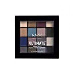 NYX Professional Makeup Paleta de sombra de ojos Ultimate Shadow Palette, Pigmentos compactos, 16 sombras, Acabados mate, satinados y metalizados, Tono: Ash
