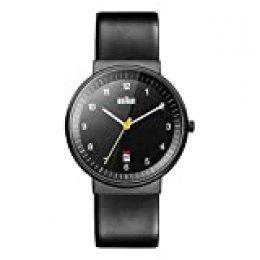 Braun BN0032BKBKG - Reloj análogico de cuarzo con correa de cuero para hombre, color negro
