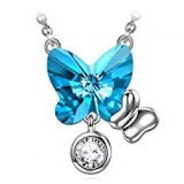 ANGEL NINA Collar Mariposa Mujer 925 Plata con Cristales Swarovski Aguamarina Azul Joyas Regalos para Navidad San Valentín Cumpleaños Aniversario San Valentín Madre Esposa Hija Niña Ella Su